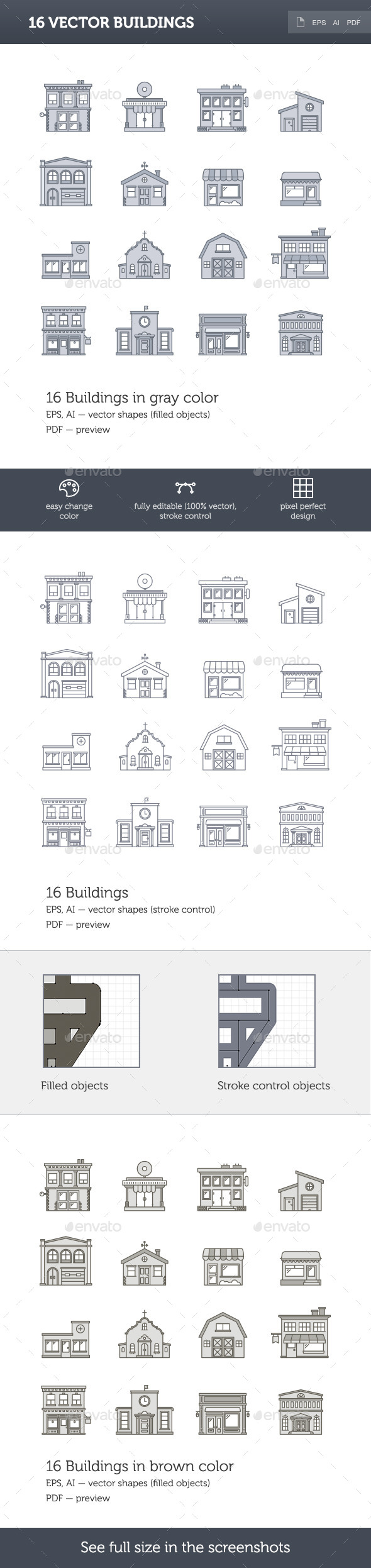 GraphicRiver 16 Vector Buildings 10117885