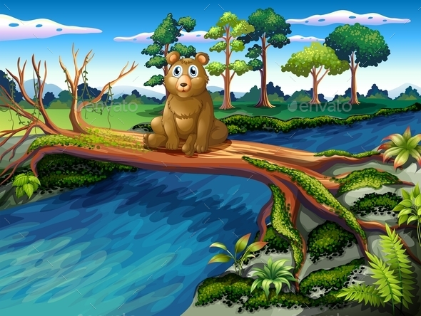 GraphicRiver Bear Sitting on a Wooden Bridge 10117959