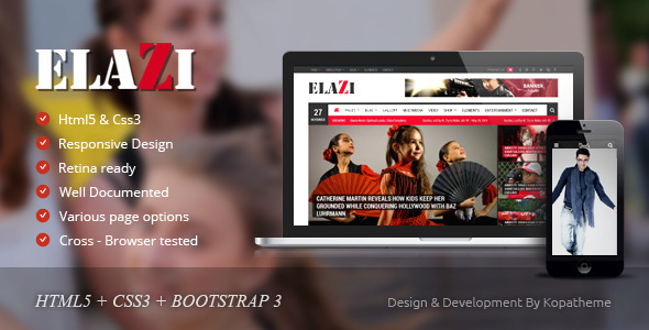 ThemeForest Elazi Magazine HTML5 Template 10118175