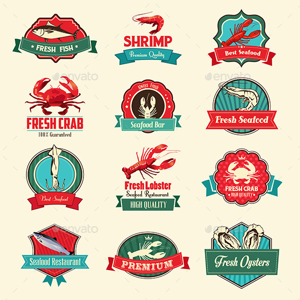 GraphicRiver Seafood Labels 10118497