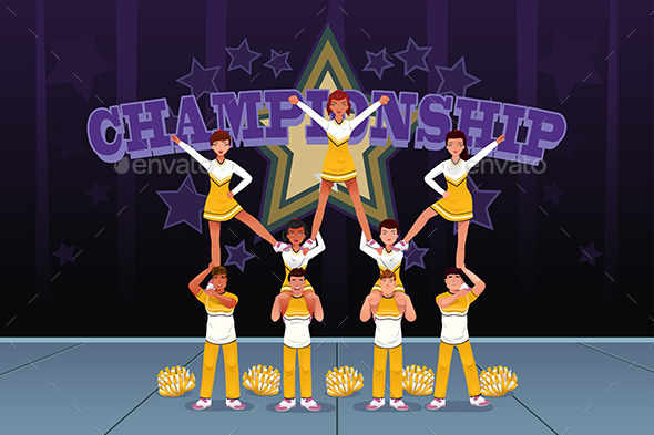 GraphicRiver Cheerleaders in a Cheerleading Competition 10118532