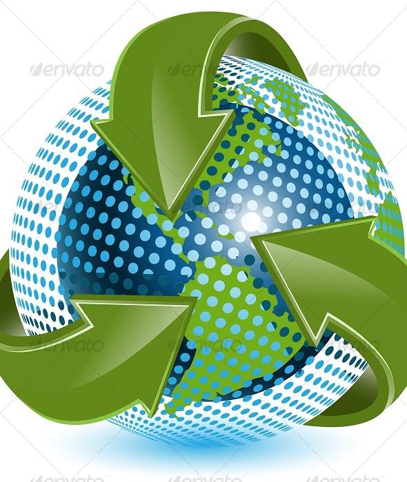 GraphicRiver Globe and green arrows 127885