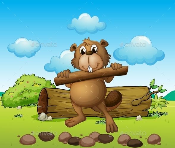 GraphicRiver beaver with a Piece of Wood 10118584