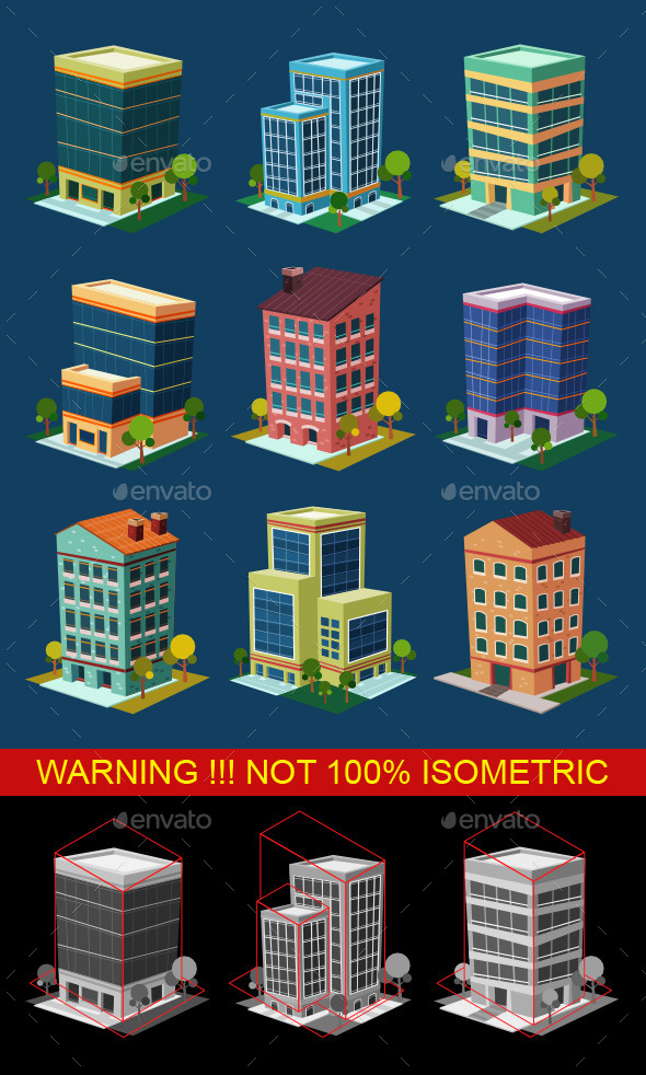 GraphicRiver Isometric Buildings 10118586