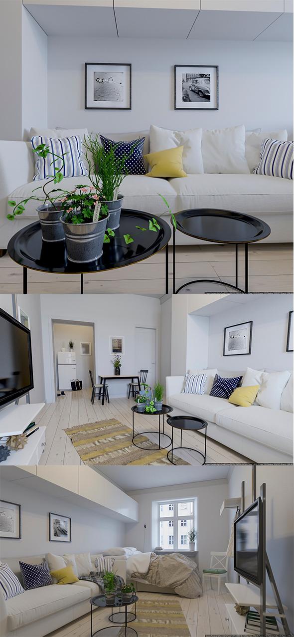 3DOcean Scandinavian Interior Realistic Render 10118691