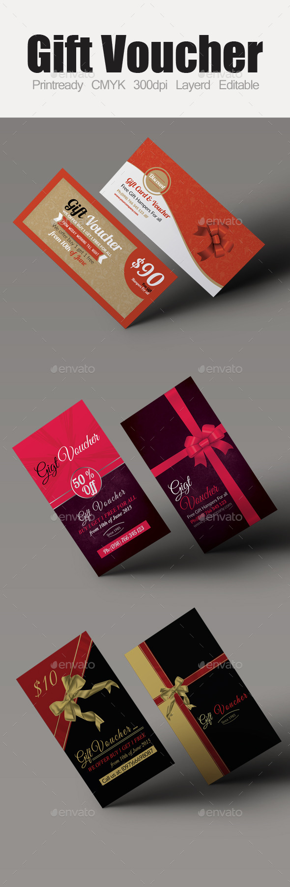 GraphicRiver Multi Use Business Gift Voucher Bundle 10118706
