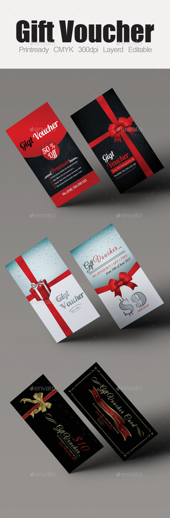 GraphicRiver Multi Use Business Gift Voucher Bundle 10118827