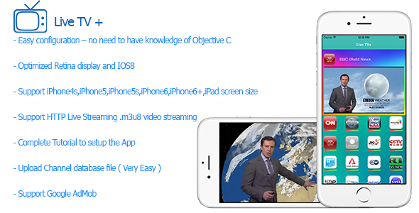 CodeCanyon Live TV Plus Streaming TV for iPhone and iPad 10118833