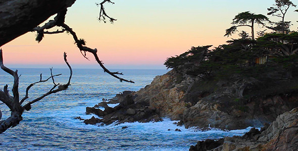 VideoHive Cliffs at Pebble Beach Framed by Branches 10118834