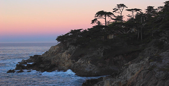 VideoHive Pink Sunrise over Cliffs at Pebble Beach 10118849