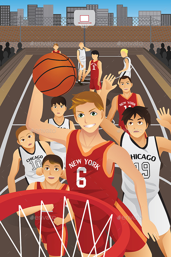 GraphicRiver Young Men Playing Basketball 10119024