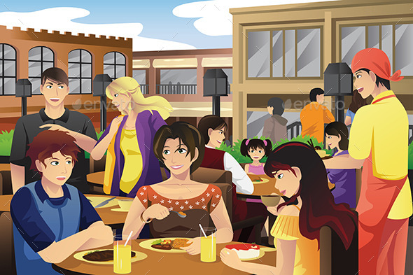 GraphicRiver People Eating in an Outdoor Restaurant 10119044