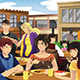 People Eating in an Outdoor Restaurant - GraphicRiver Item for Sale