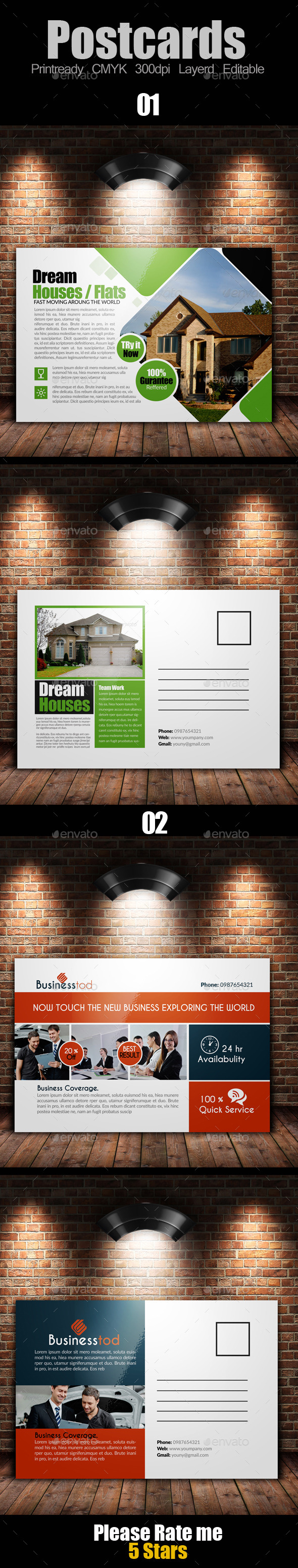 GraphicRiver Multi Use Business Post Cards Bundle 10119293