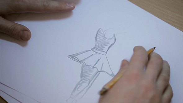 VideoHive Men Drawing Sketches Of Dancer 10119298