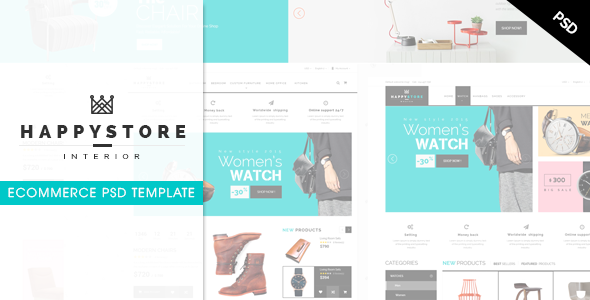 ThemeForest HappyStore Ecommerce PSD Template 10119305