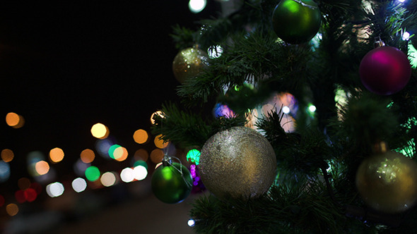 VideoHive Outdoor Christmas Tree In The City At Night 10119345