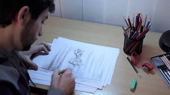 VideoHive Artist Finishing A Drawing And Leaving 10119357