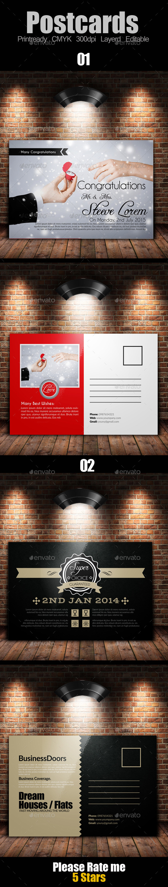 GraphicRiver Multi Use Business Post Cards Bundle 10119373