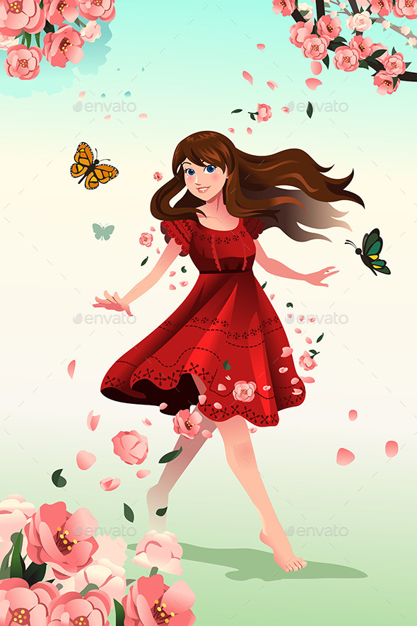 GraphicRiver Girl with Flowers 10119431