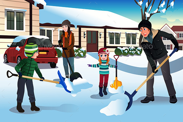 GraphicRiver Family Shoveling Snow 10119488