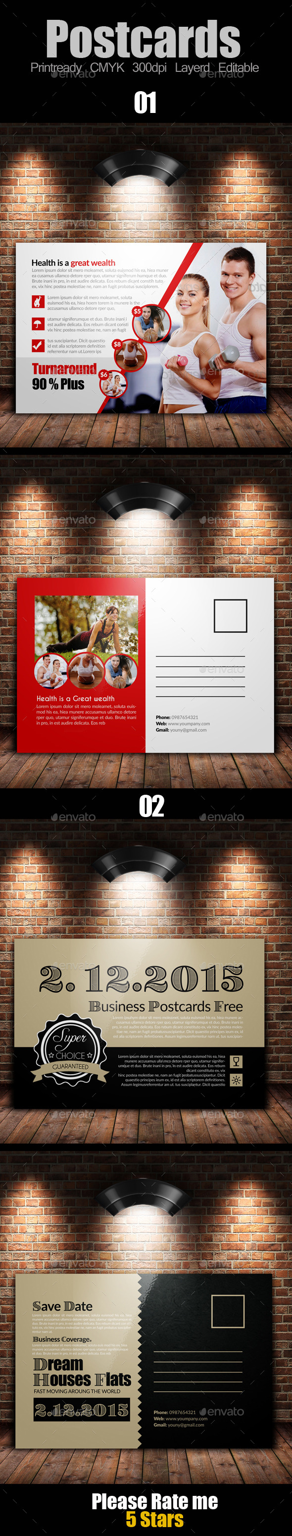 GraphicRiver Multi Use Business Post Cards Bundle 10119507