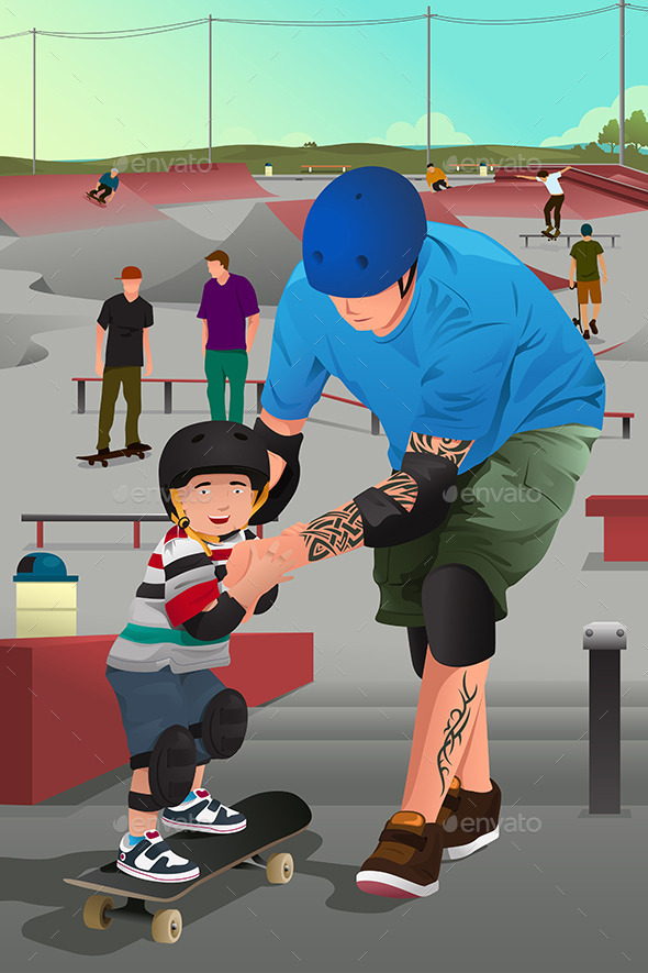 GraphicRiver Father Teaching Son Skateboarding 10119510
