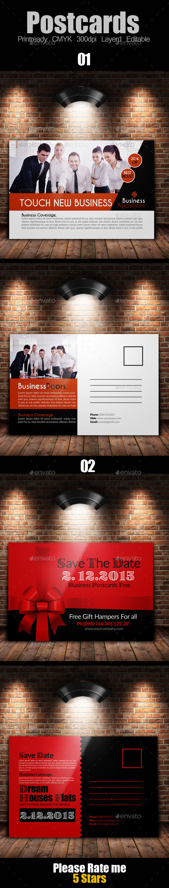 GraphicRiver Multi Use Business Post Cards Bundle 10119550