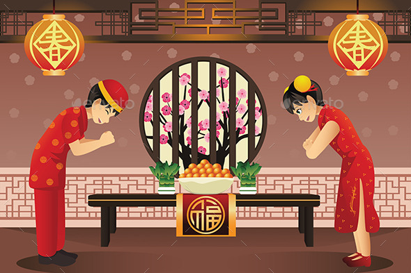 GraphicRiver Chinese Kids Celebrating Chinese New Years 10119718