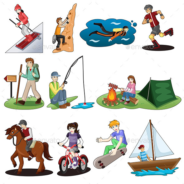 GraphicRiver Active People Doing Outdoor Activities 10120306