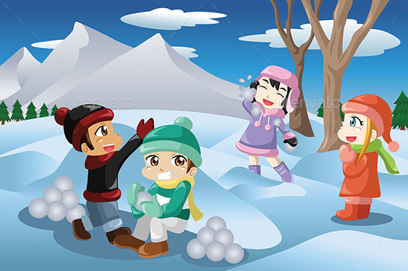 GraphicRiver Kids Playing with Snow 10120495