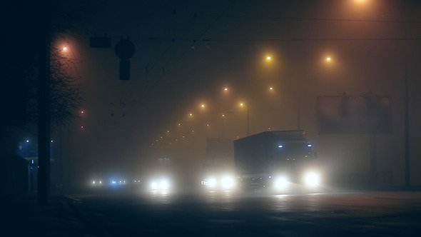 Fog Night Traffic in City 03