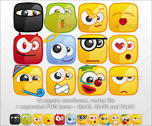 12 Square emoticons II - Miscellaneous Characters