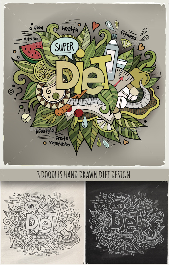 GraphicRiver 3 Diet Doodles Designs 10121506