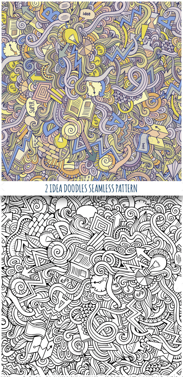 GraphicRiver 2 Idea Doodles Seamless Pattern 10121577