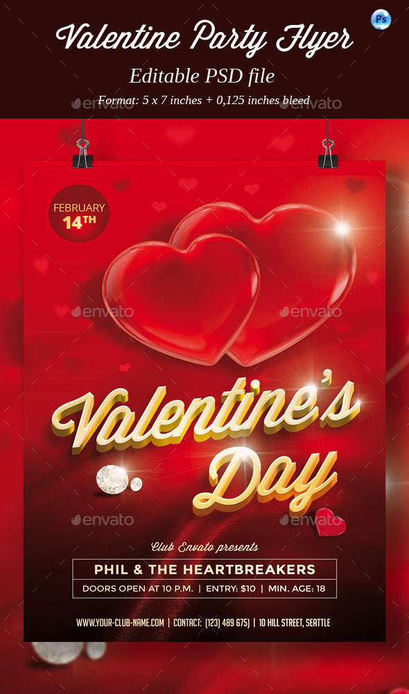 GraphicRiver Valentine Party Flyer 10121586