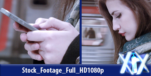 VideoHive Woman Using Her Cell Phone On Subway 10121773