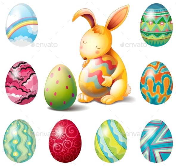 GraphicRiver Easter eggs and Bunny 10121991