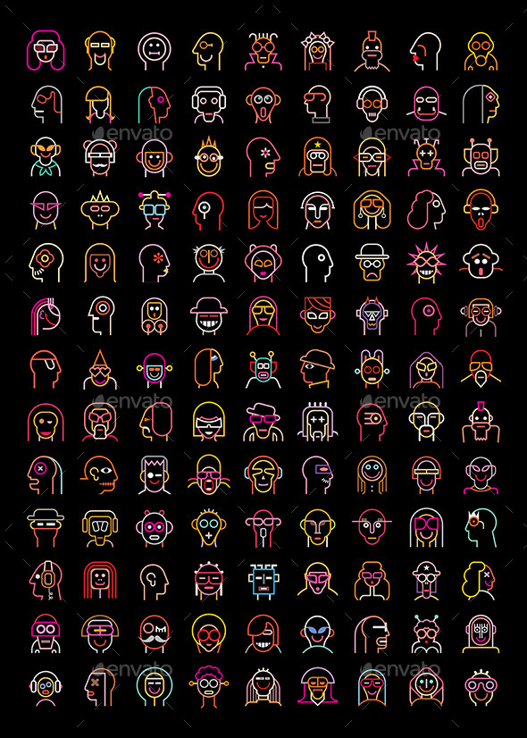 GraphicRiver Neon Avatars 10122505