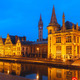 Quay Graslei in Ghent town at evening, Belgium - PhotoDune Item for Sale