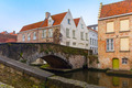 Green canal and bridge in Bruges, Belgium - PhotoDune Item for Sale