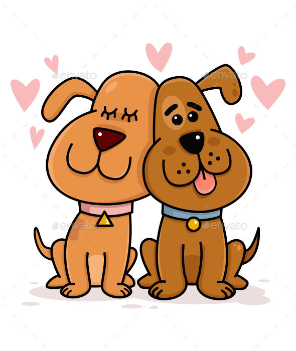 GraphicRiver Dogs Couple in Love 10123638