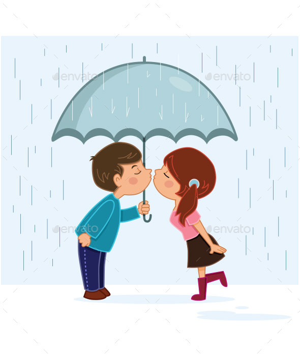GraphicRiver Couple Kissing in the Rain 10123694