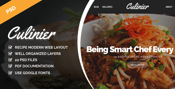 Culinier Modern Food Recipe PSD Template