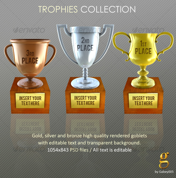 GraphicRiver Trophies Gold silver and bronze 127028