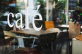 text cafe in front of mirror coffee shop - PhotoDune Item for Sale