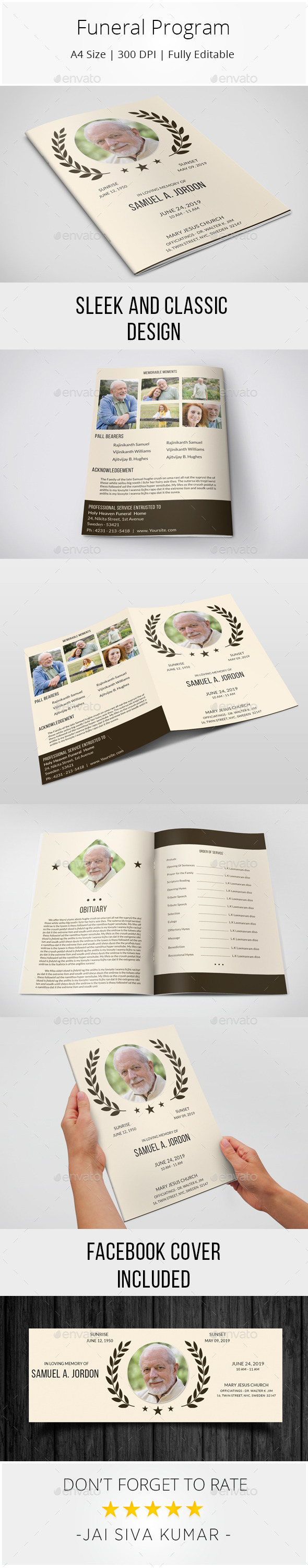 GraphicRiver Funeral Program Template 10124999