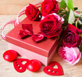 Roses and Gift for Valentine's Day