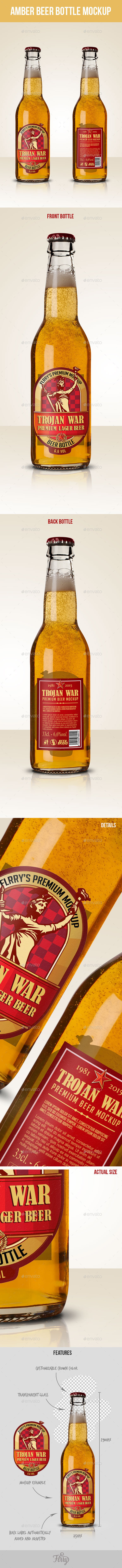 GraphicRiver Premium Amber Beer Bottle Mockup 10125321