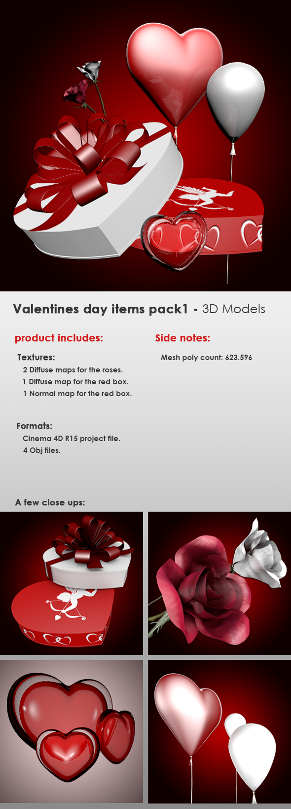 Valentines Day Items Pack 1 - 3DOcean Item for Sale